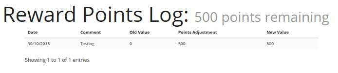 Colglo Points Rewards Log