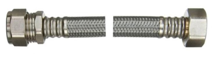 15mm x 1/2 inch x 300mm Braided Flexible Tap Connector WRAS Approved