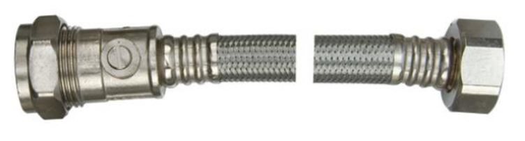 15mm x 1/2 inch x 300mm Braided Flexible Tap Connector c/w ISO Valve WRAS Approved