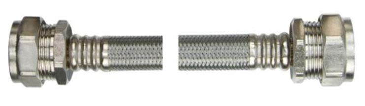 15mm x 15mm x 300mm Braided Flexible Pipe Connector WRAS Approved