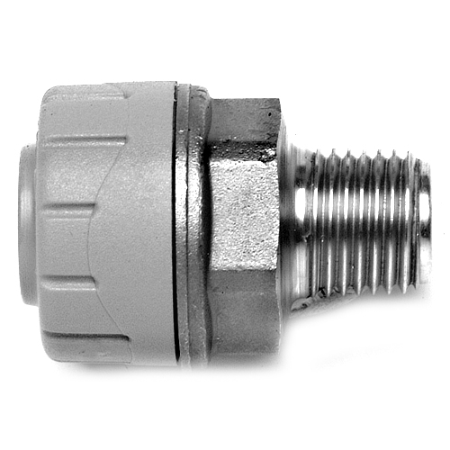 Polyplumb 15x1/2 inch Male BSP Adapter Pushfit Pipe Fitting