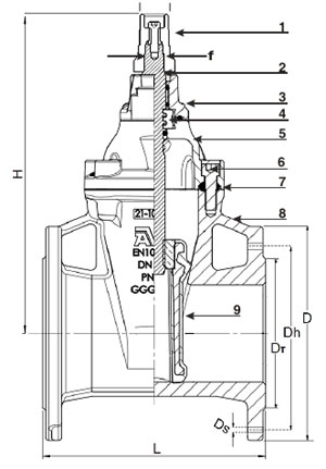 AVK Wedge Gate Valve Diagram